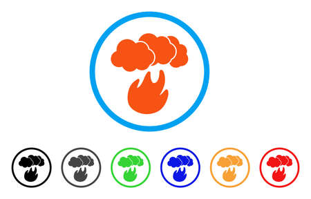 Fire With Smoke rounded icon. Style is a flat fire with smoke orange symbol inside light blue circle with black, gray, green, blue, red, orange versions.