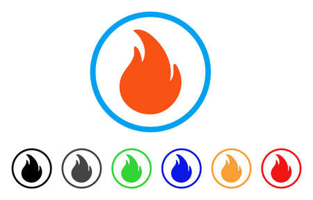 Fire rounded icon. Style is a flat fire orange symbol inside light blue circle with black, gray, green, blue, red, orange variants. Vector designed for web and software interfaces.