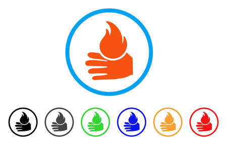 Burn Hand rounded icon. Style is a flat burn hand orange symbol inside light blue circle with black, gray, green, blue, red, orange color versions. Vector designed for web and software interfaces. Illustration