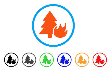 Forest Fire rounded icon. Style is a flat forest fire orange symbol inside light blue circle with black, gray, green, blue, red, orange variants. Vector designed for web and software interfaces. Illustration