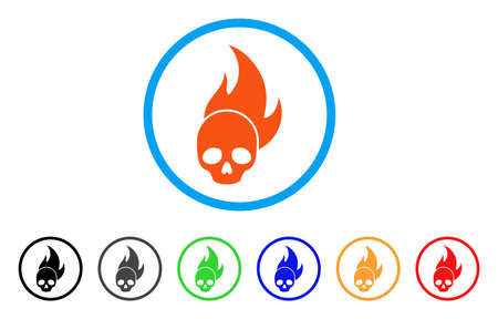 Skull Fire rounded icon Illustration
