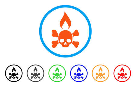 Death Ignition rounded icon. Style is a flat death ignition orange symbol inside light blue circle with black, gray, green, blue, red, orange color versions.