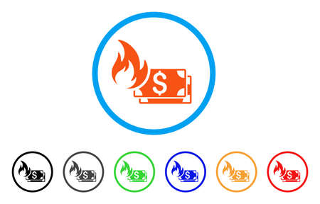 Dollar Banknotes Fire rounded icon. Style is a flat dollar banknotes fire orange symbol inside light blue circle with black, gray, green, blue, red, orange color versions.