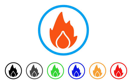 Fire And Water Drop rounded icon. Style is a flat fire and water drop orange symbol inside light blue circle with black, gray, green, blue, red, orange variants.