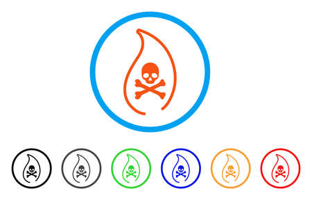 Mortal Flame rounded icon. Style is a flat mortal flame orange symbol inside light blue circle with black, gray, green, blue, red, orange variants. Vector designed for web and software interfaces. Illustration