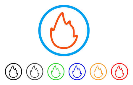 Fire Contour rounded icon. Illustration
