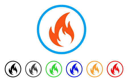 Flame rounded icon. Style is a flat flame orange symbol inside light blue circle with black, gray, green, blue, red, orange versions. Vector designed for web and software interfaces.
