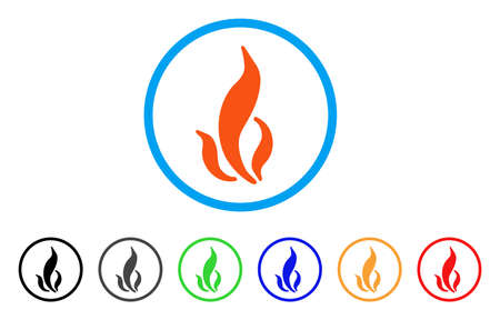 Flame rounded icon. Style is a flat flame orange symbol inside light blue circle with black, gray, green, blue, red, orange color versions. Vector designed for web and software interfaces. Illustration