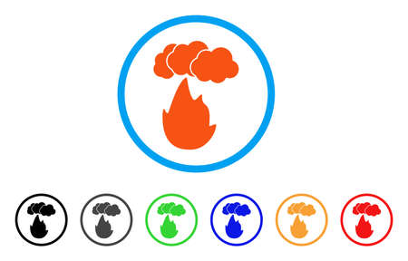 Flame With Smoke rounded icon. Style is a flat flame with smoke orange symbol inside light blue circle with black, gray, green, blue, red, orange versions. Illustration