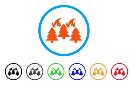 Forest Fire Disaster rounded icon. Style is a flat forest fire disaster orange symbol inside light blue circle with black, gray, green, blue, red, orange versions. Illustration