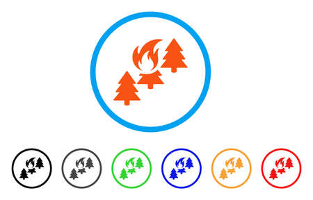 Forest Fire rounded icon. Style is a flat forest fire orange symbol inside light blue circle with black, gray, green, blue, red, orange versions. Vector designed for web and software interfaces.