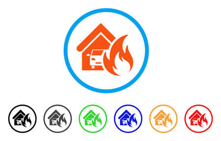 Garage Fire Disaster rounded icon. Style is a flat garage fire disaster orange symbol inside light blue circle with black, gray, green, blue, red, orange versions.