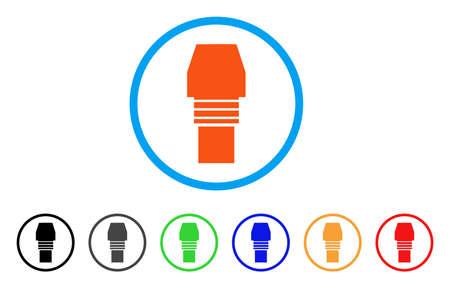 Gasbrennerdüse abgerundete Ikone. Stil ist eine flache Gasbrennerdüse orange Symbol im hellblauen Kreis mit schwarz, grau, grün, blau, rot, orange Farbvarianten. Standard-Bild - 86624102