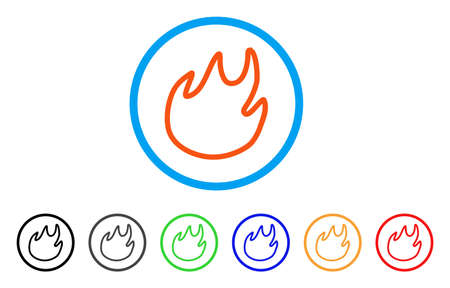 Flame Contour rounded icon. Style is a flat flame contour orange symbol inside light blue circle with black, gray, green, blue, red, orange versions. Vector designed for web and software interfaces.