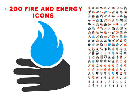 Hand with flame icon with bonus flame symbols.