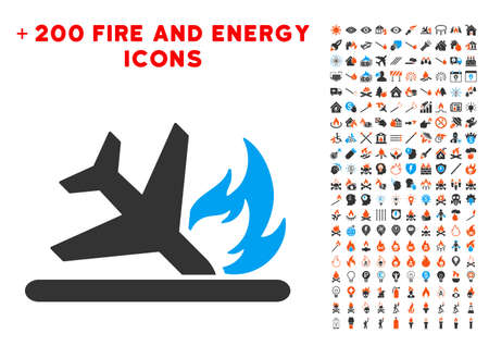 Airplane Landing Crash pictograph with bonus energy graphic icons.
