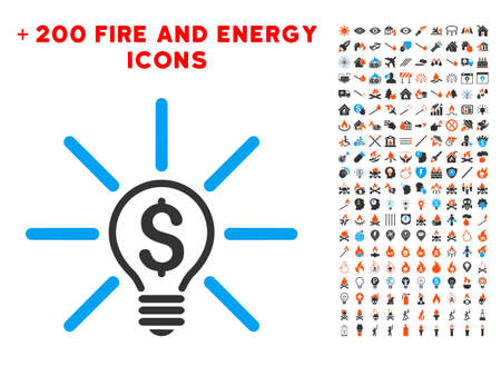 Business Idea Bulb icon with bonus fire graphic icons Illustration