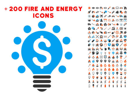 Business Patent Bulb icon with bonus energy design elements