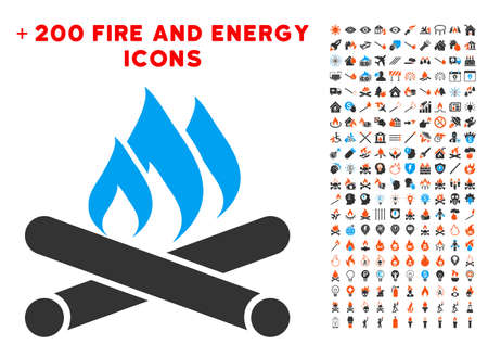 Campfire pictograph with bonus power design elements Illustration