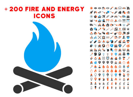 Campfire icon with bonus flame graphic icons. Vector illustration style is flat iconic symbols for web design, app ui. Illustration