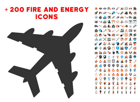 usaf: Bomber icon with bonus fire pictures Illustration