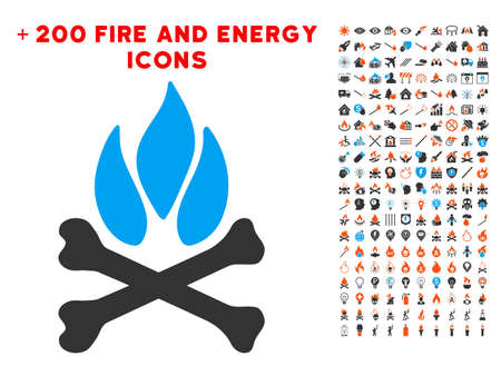 Bones Campfire pictograph with bonus flame icon set