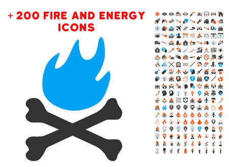 Bones Hell Fire icon with bonus flame clip art