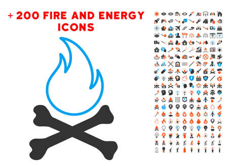 Bones Hell Fire icon with bonus energy clip art. Vector illustration style is flat iconic elements for web design, app user interface. Stock Photo