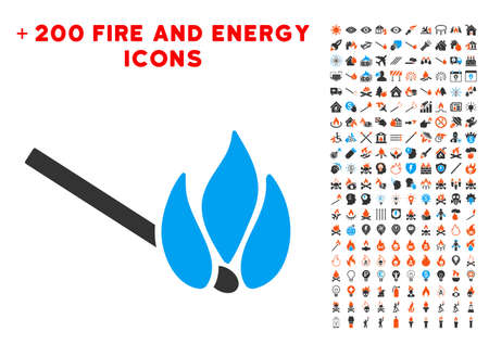 Burn Match pictograph with bonus energy design elements. Vector illustration style is flat iconic symbols for web design, app ui.