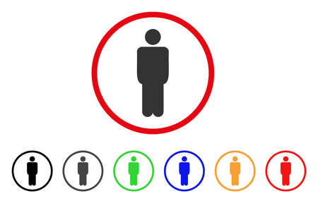 Man icon. Vector illustration style is a flat iconic man grey rounded symbol inside red circle with black, gray, green, blue, red, orange color additional versions.
