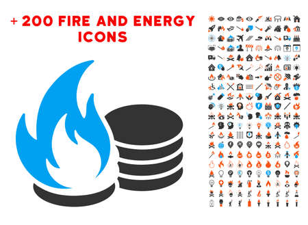 Coins Fire Disaster pictograph with bonus power symbols. Vector illustration style is flat iconic elements for web design, app ui. Illustration