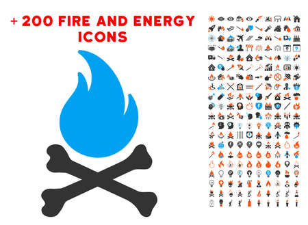 Death Bones Flame icon with bonus energy pictograph collection. Vector illustration style is flat iconic elements for web design, app ui.