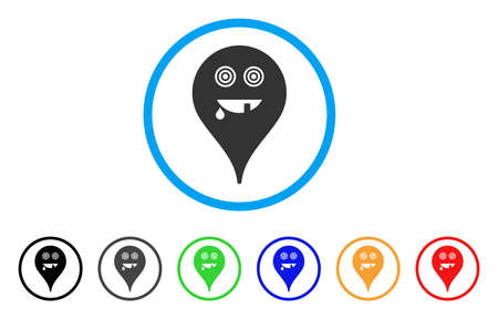 Maniac Smiley Map Marker rounded icon Vetores