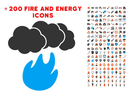 Fire With Smoke icon with bonus power pictograph collection. Vector illustration style is flat iconic elements for web design, application ui. Illustration