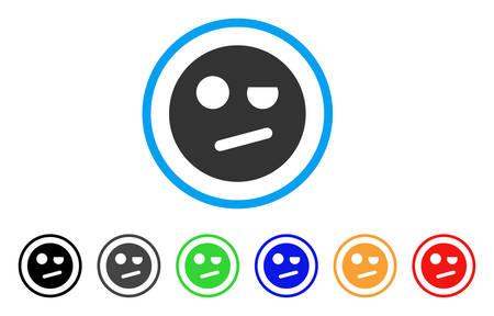 Icono de Negación Smiley. El estilo del ejemplo del vector es un símbolo sonriente plano icónico de la negación con las variantes negras, grises, verdes, azules, rojas, anaranjadas del color. Diseñado para interfaces web y de software.