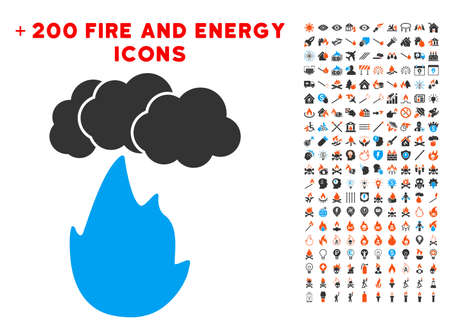 Flame With Smoke icon with bonus power pictures. Vector illustration style is flat iconic elements for web design, app user interface.