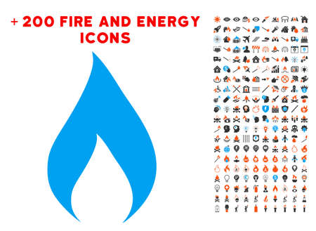 Flame pictograph with bonus fire design elements. Vector illustration style is flat iconic elements for web design, application ui. Illustration