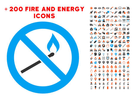 Forbidden Match Fire pictograph with bonus fire icon set. Vector illustration style is flat iconic symbols for web design, application ui.