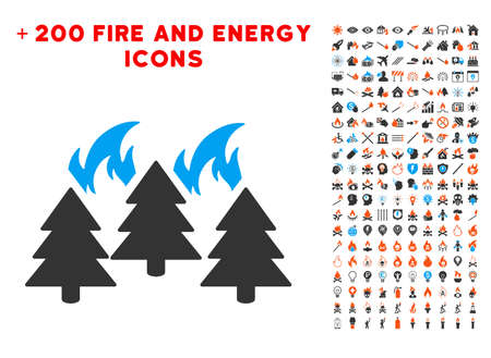 Forest Fire Disaster icon with bonus fire graphic icons. Vector illustration style is flat iconic elements for web design, application ui.