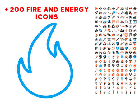 Flame Contour pictograph with bonus energy images. Vector illustration style is flat iconic elements for web design, app user interface.