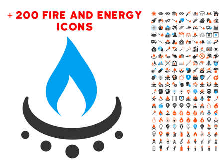 Gas Burner Jet Flame pictograph with bonus power graphic icons. Vector illustration style is flat iconic elements for web design, application ui.