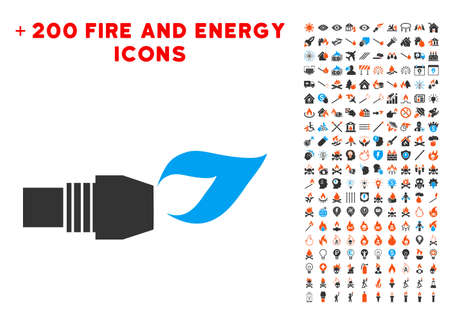 Gas Burner Nozzle Fire pictograph with bonus energy pictograms. Vector illustration style is flat iconic symbols for web design, app ui. Vector Illustration