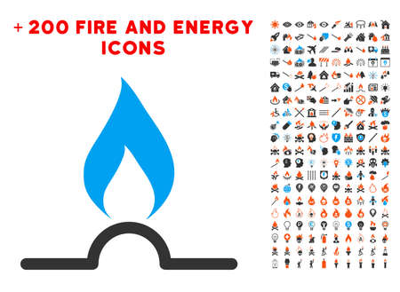 Gas Flame pictograph with bonus fire pictograms. Vector illustration style is flat iconic symbols for web design, application user interface.