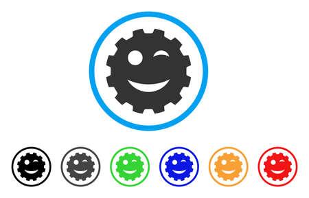 ウインク笑顔歯車のアイコン。ベクトル図のスタイルは、黒、グレー、緑、青、赤、オレンジ色の追加バージョンとフラット象徴的なウインク笑顔