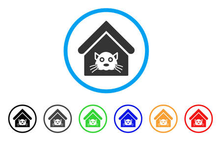Cat House rounded icon. Style is a flat cat house gray symbol inside light blue circle with black, gray, green, blue, red, orange color versions. Vector designed for web and software interfaces.
