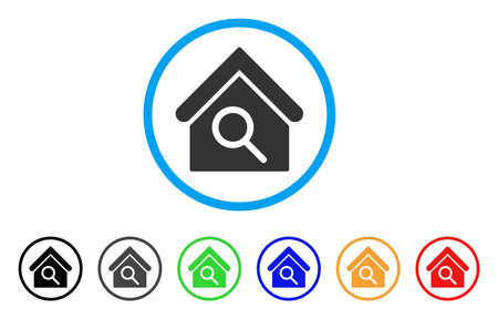 Find Building rounded icon. Style is a flat find building grey symbol inside light blue circle with black, gray, green, blue, red, orange versions. Vector designed for web and software interfaces. Illustration