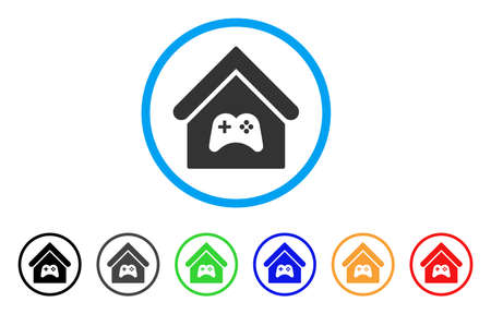 Game Center Building rounded icon. Style is a flat game center building gray symbol inside light blue circle with black, gray, green, blue, red, orange variants.