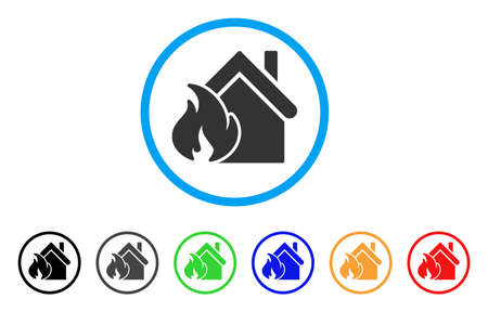 misadventure: Realty Fire Disaster rounded icon. Style is a flat realty fire disaster grey symbol inside light blue circle with black, gray, green, blue, red, orange variants.