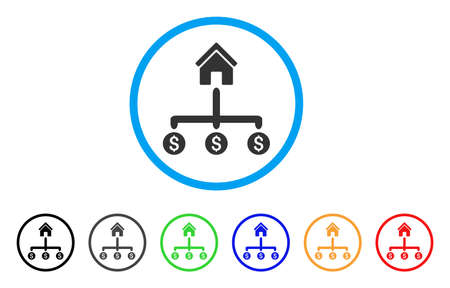 collect: Building Payments rounded icon. Style is a flat building payments gray symbol inside light blue circle with black, gray, green, blue, red, orange color versions. Illustration