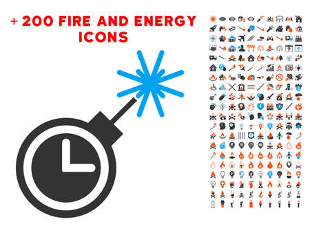 Time Bomb pictograph with bonus flame clip art. Vector illustration style is flat iconic elements for web design, app ui. Illustration